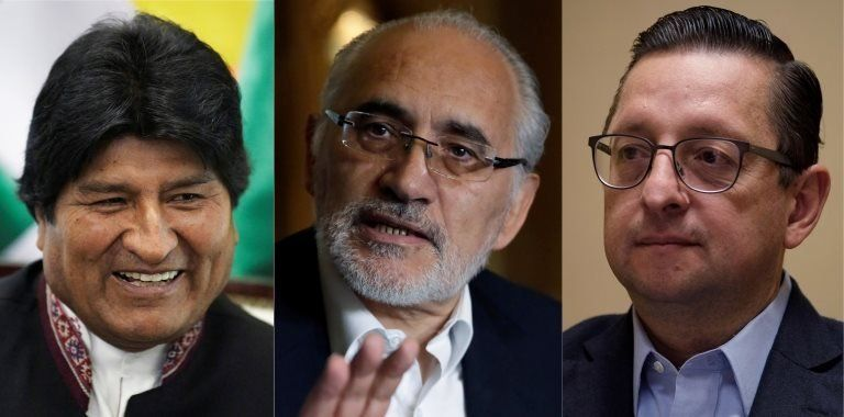 A composite photo shows the top three presidential candidates in Bolivia: Evo Morales, Carlos Mesa and Óscar Ortiz