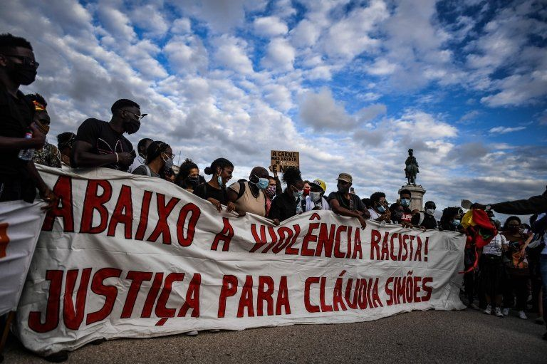 Protestors in Lisbon, Portugal in solidary with US anti-racism rallies