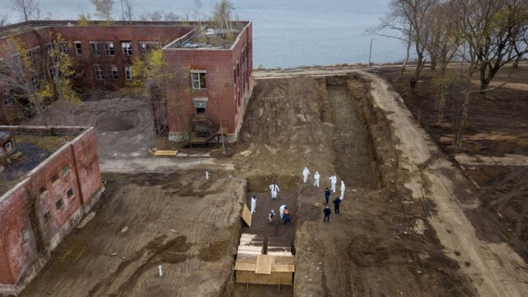 Drone pictures show bodies being buried on New York's Hart Island