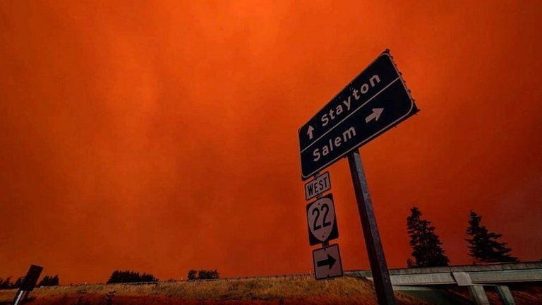Red sky and thick smoke in Salem City, Oregon, US, on 8 September 2020