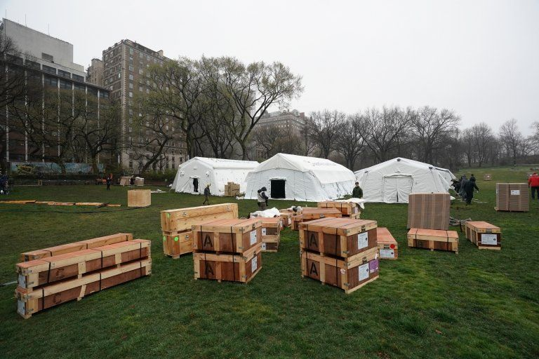 A field hospital has been built in Central Park as New York City deals with more than 33,000 cases