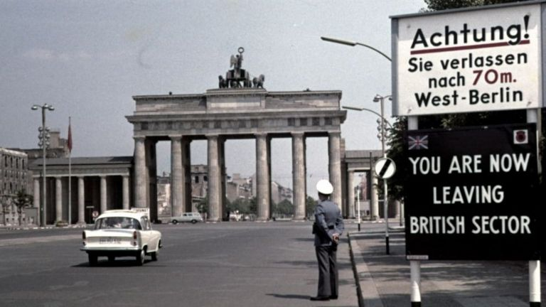 "A sign reading ""You are now leaving the British Sector"" in Berlin"