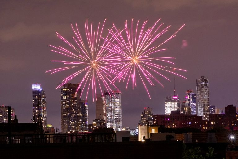Illegal fireworks shine over Brooklyn, New York on 19 June