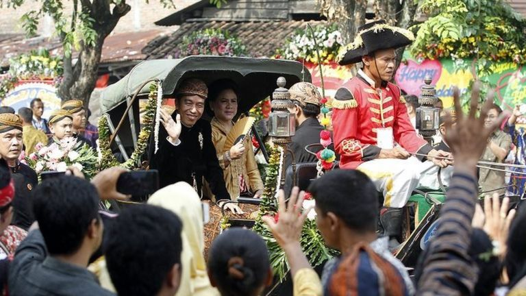 The ceremony and parade took place on Wednesday in the president's home town of Surakarta -also known as Solo - in central Java. Image: BBC/Fajar Sodiq