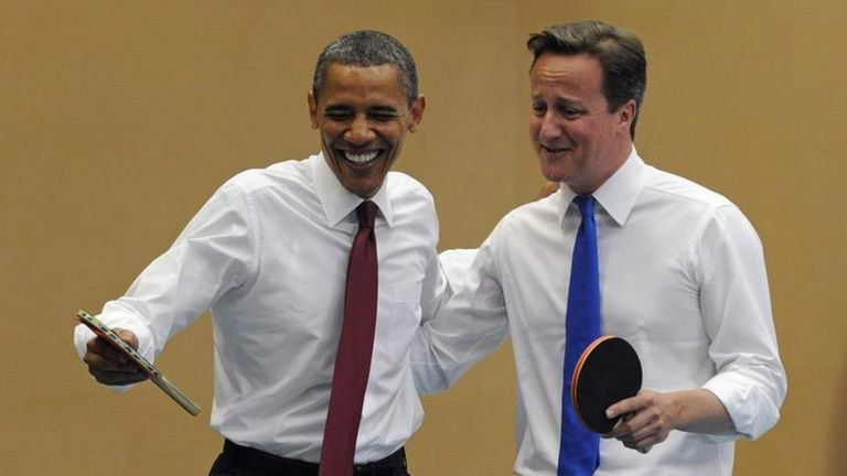 David Cameron and Barack Obama playing table tennis