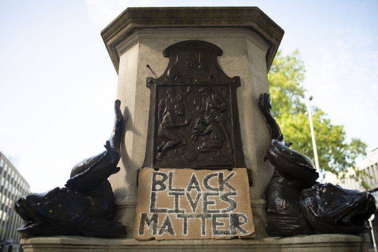 The plinth remains empty after BLM protesters took down the controversial statue