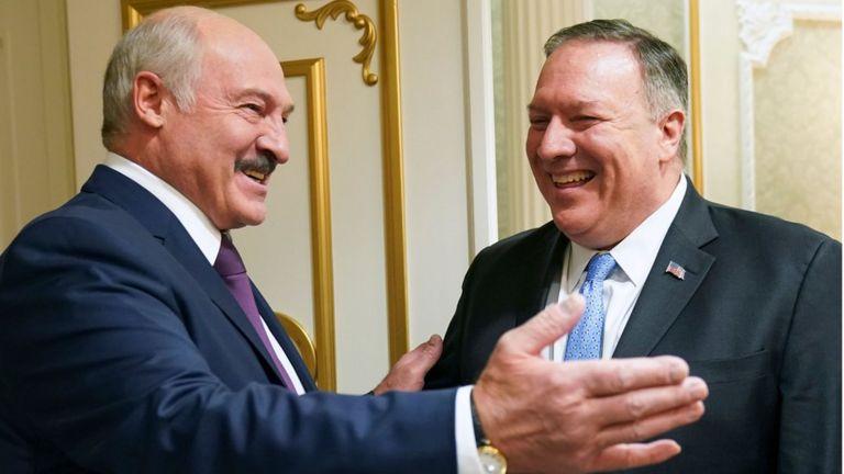 Президент Беларуси Александр лукашенко (слева) и госсекретарь США Майкл Помпео в Минске 1 февраля 2020 года
