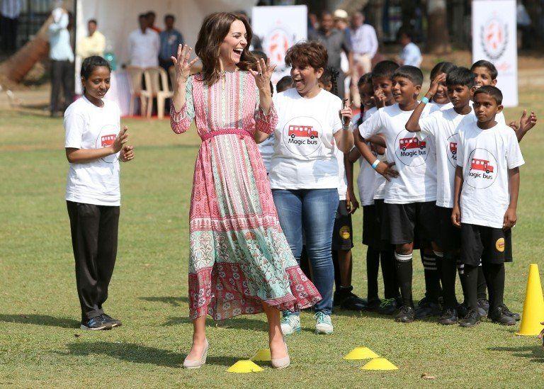 Duchess of Cambridge plays games with children in Mumbai