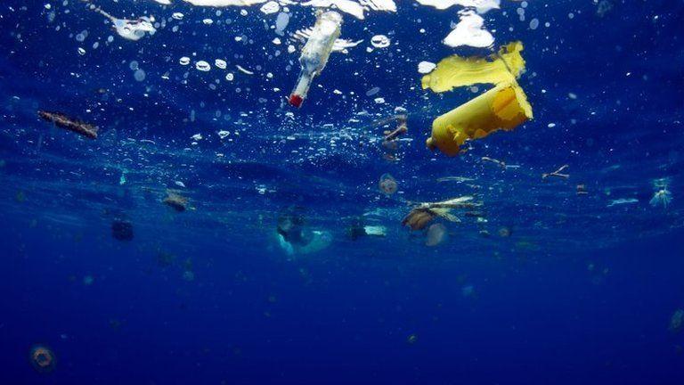 Plastic flotsam in the sea, Blue Planet II