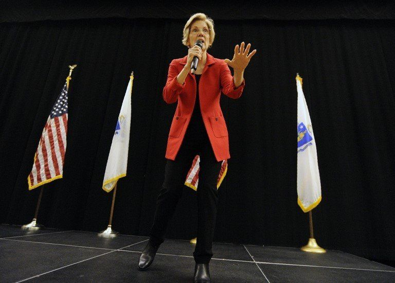 US Senator Elizabeth Warren (D-MA) addresses a town hall meeting in Roxbury, Massachusetts, October 13, 2018.
