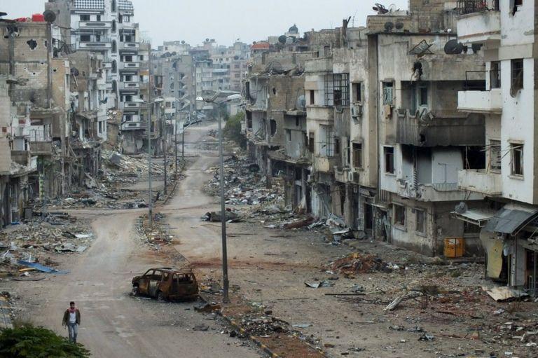 Destruição em Homs, na Síria