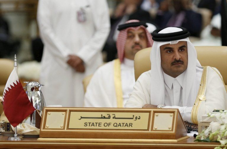 Pictured: The Emir of Qatar Tamim bin Hamad al-Thani, attends the final session of the South American-Arab Countries summit, in Riyadh on 11 November, 2015.