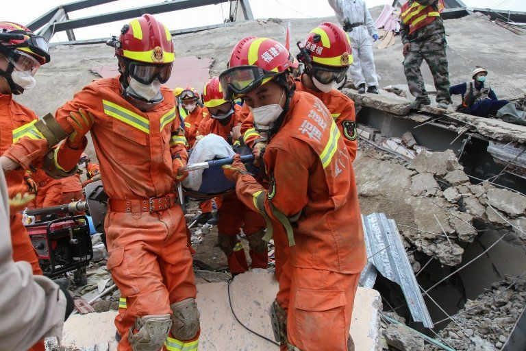 Rescue workers continued to search for survivors on Sunday