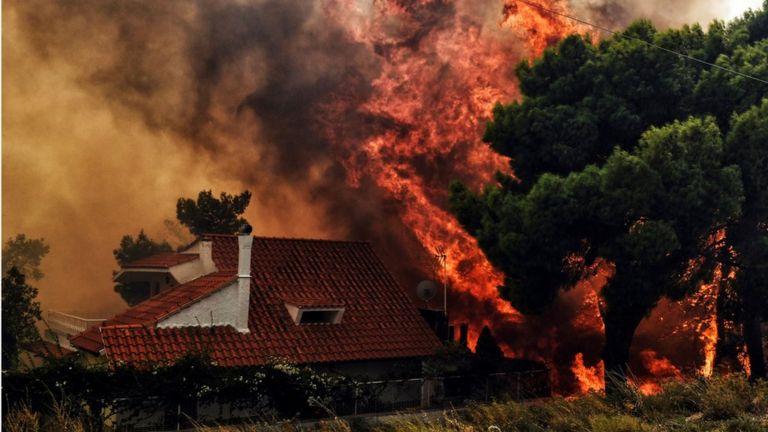 Пожар в деревне Кинета, рядом с Афинами. 23 июля 2018 года