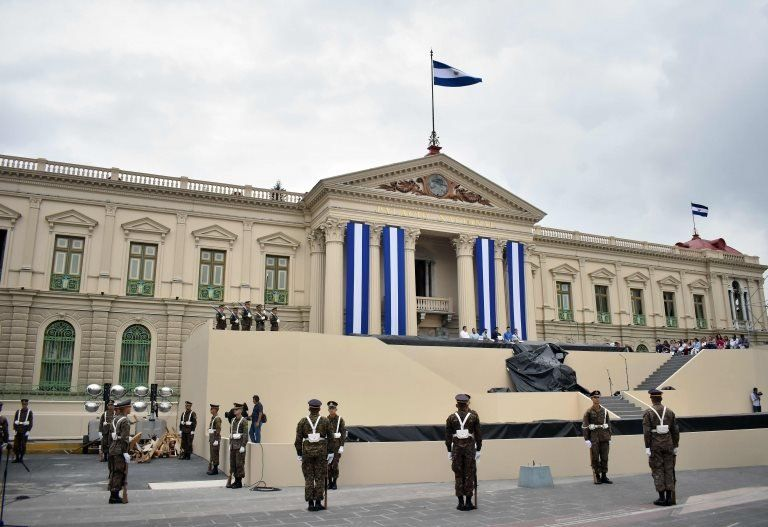 Salvadoran soldiers take part in a rehearsal during preparations for the presidential inauguration ceremony in downtown San Salvador, on May 29, 2019