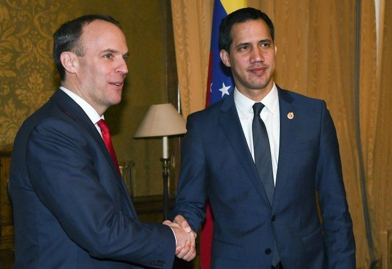 """File photo dated 21/01/20 of Foreign Secretary Dominic Raab meeting Venezuela""""s Opposition leader Juan Guaido."""