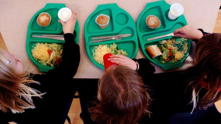 Children having school meals