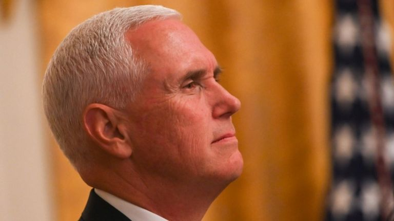 US Vice President Mike Pence looks on during the 2019 Young Black Leadership Summit in the East Room of the White House in Washington