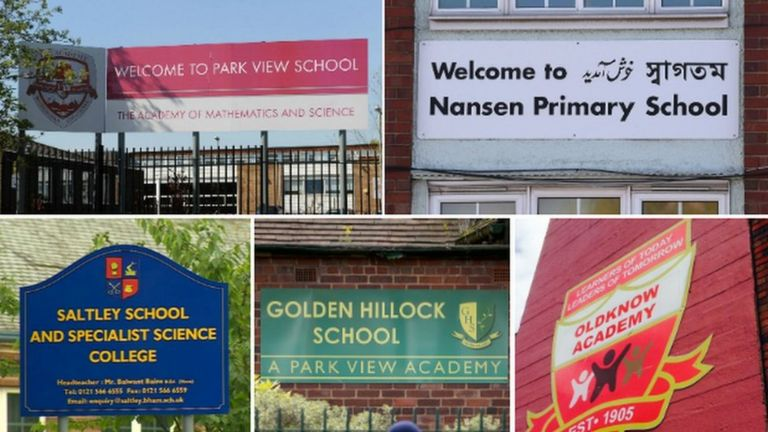 Signage outside five schools investigated over the original alleged so-called Trojan Horse plot
