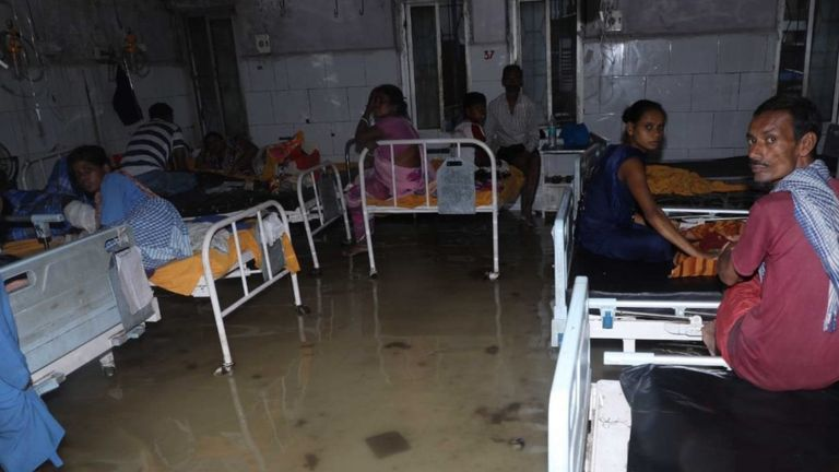 A flooded hospital in Bihar