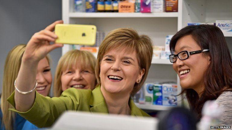 Nicola Sturgeon visiting a pharmacy in Edinburgh
