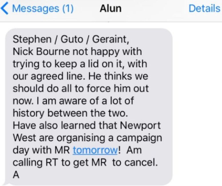 The text sent by Alun Cairns