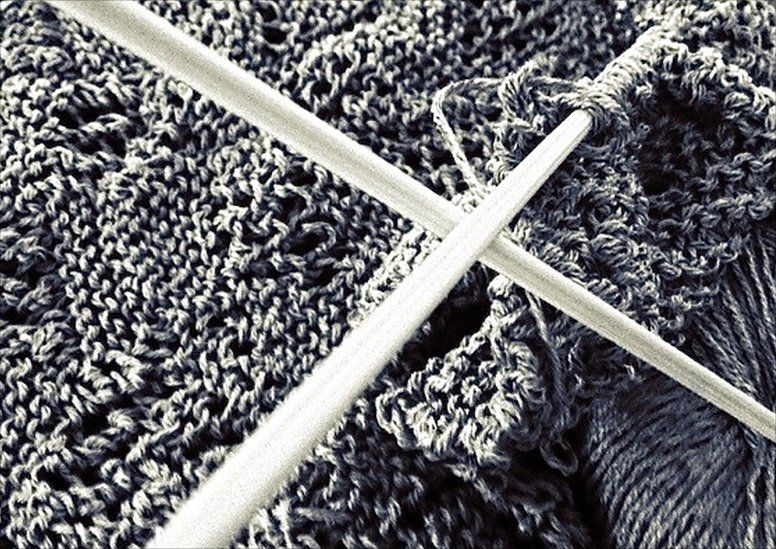Knitting needles and some knitting