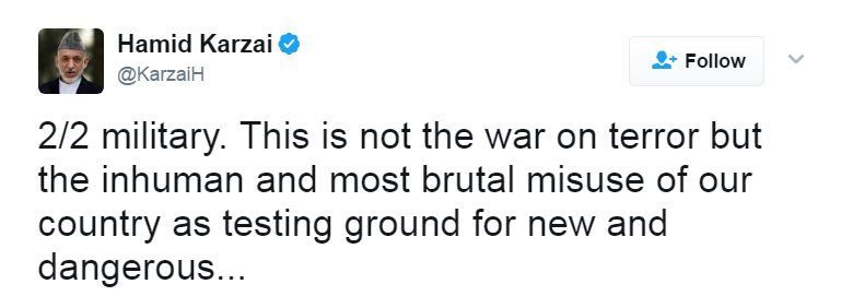 """Tweet reads: """"military. This is not the war on terror but the inhuman and most brutal misuse of our country as testing ground for new and dangerous"""". A third tweet continues: """"..weapons. It is upon us ,Afghans, to stop the #USA."""""""