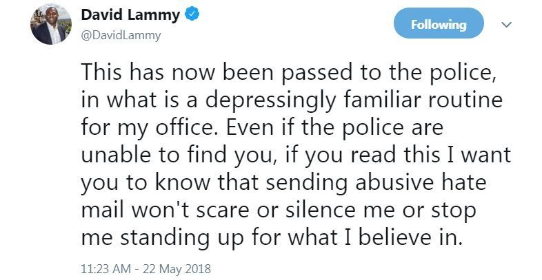 Screen grab of Tweet by David Lammy MP