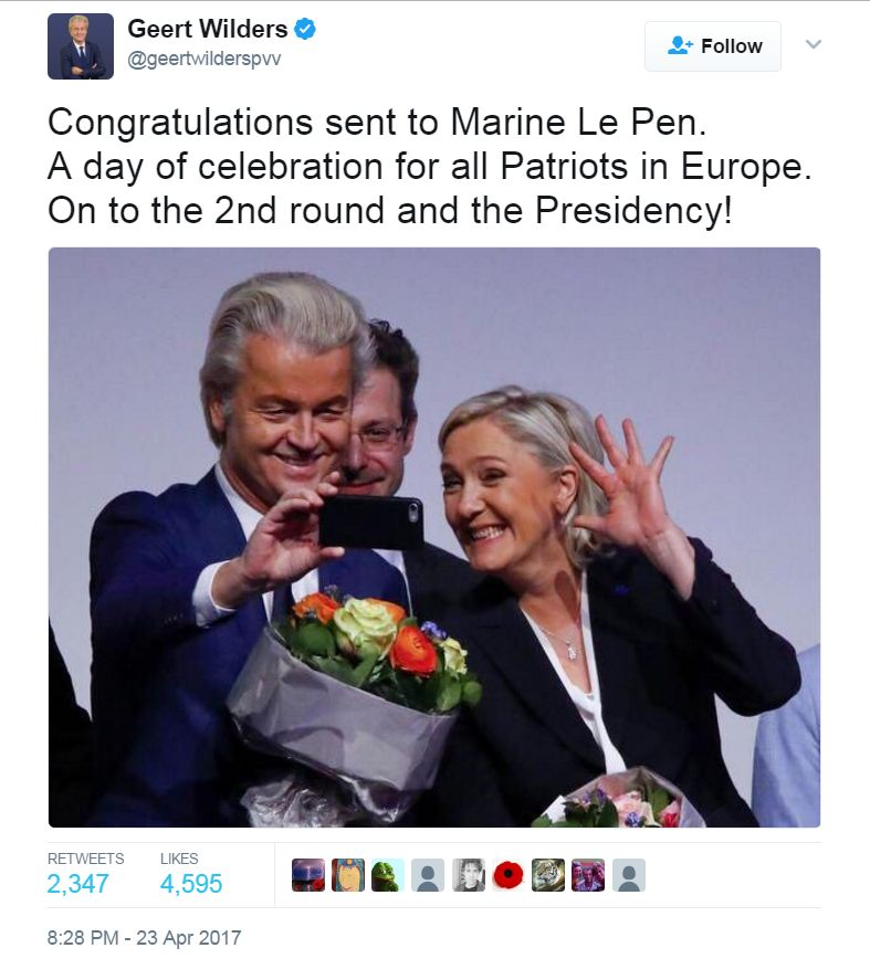 Tweet from @Geertwilderspvv: Congratulations sent to Marine Le Pen. A day of celebration for all Patriots in Europe. On to the 2nd round and the Presidency!
