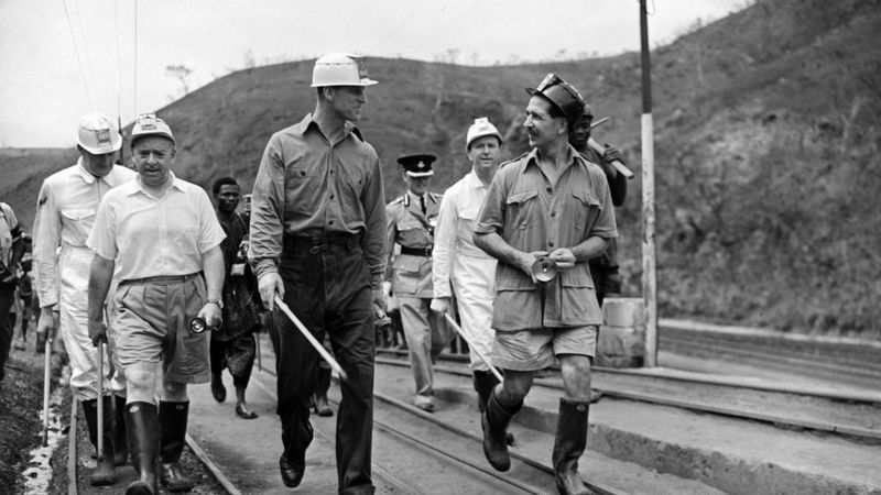 Britain's Prince Phillip during a visit to the Iva Valley mines