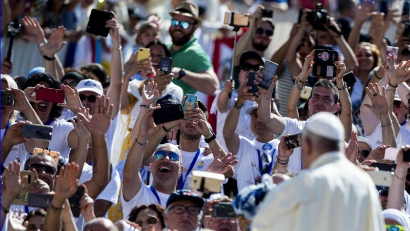 Pope and audience in Rome