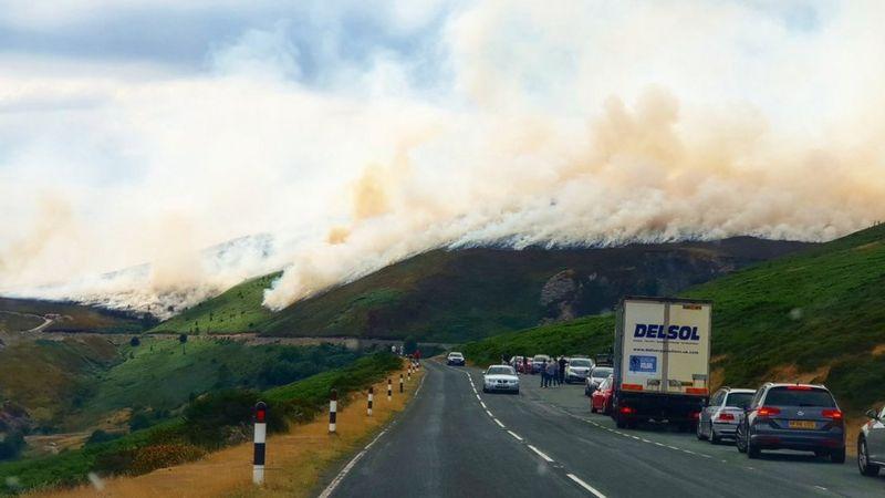 Fire burning on a hill above the Horseshoe Pass, Llangollen
