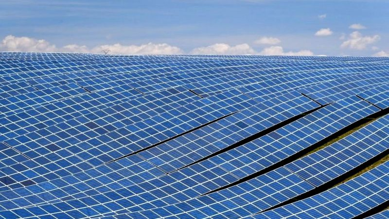 A view shows photovoltaic solar panels at the power plant in La Colle des Mées, Alpes de Haute Provence, south eastern France, on April 17, 2019.