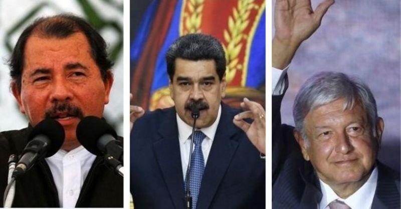 Os presidentes Daniel Ortega, Nicolás Maduro e Andrés Manuel López Obrador
