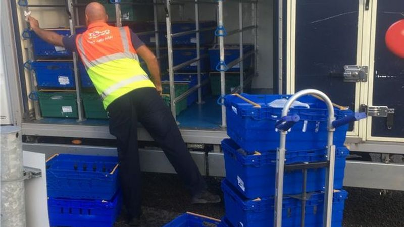 The anonymous donation being unloaded from the truck
