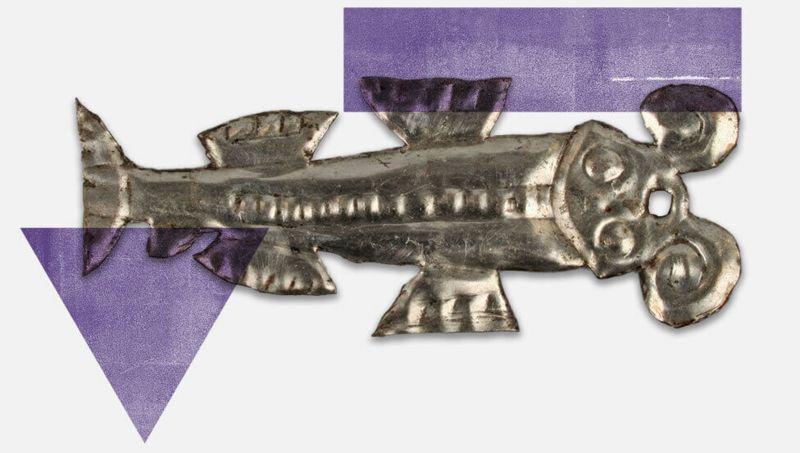 Fotografía de una langosta hecha de metal