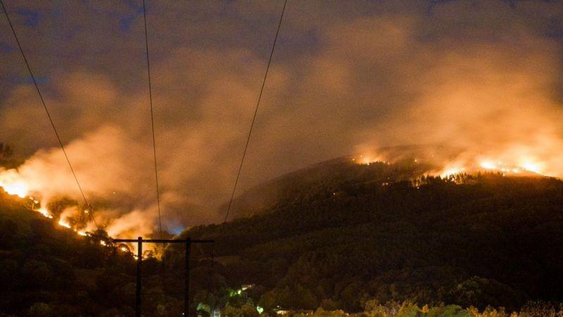 A mountainside on fire