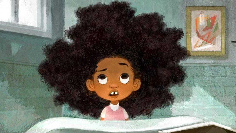 Cartoon of girl from 'Hair Love'