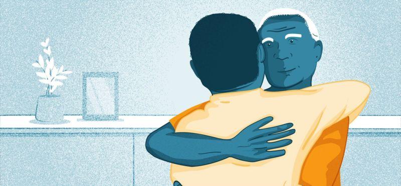 Illustration- two men hugging