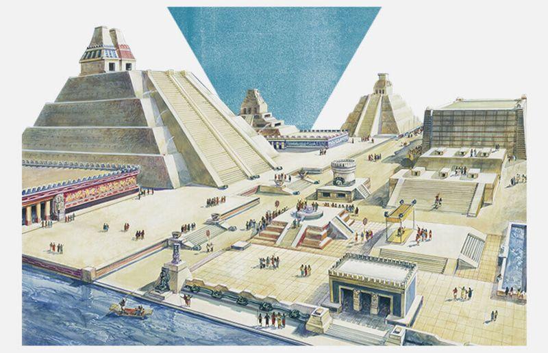 Reproducción de cómo se cree que era Tenochtitlan.