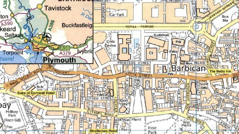 A map of Plymouth