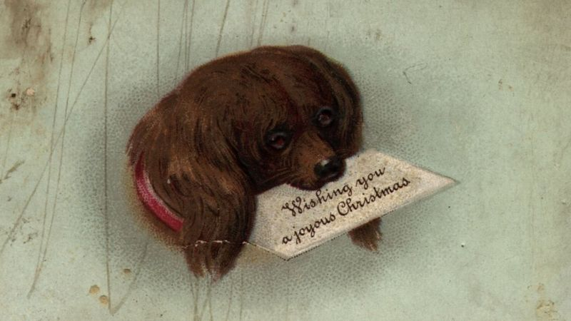victorian christmas card with a sad dog