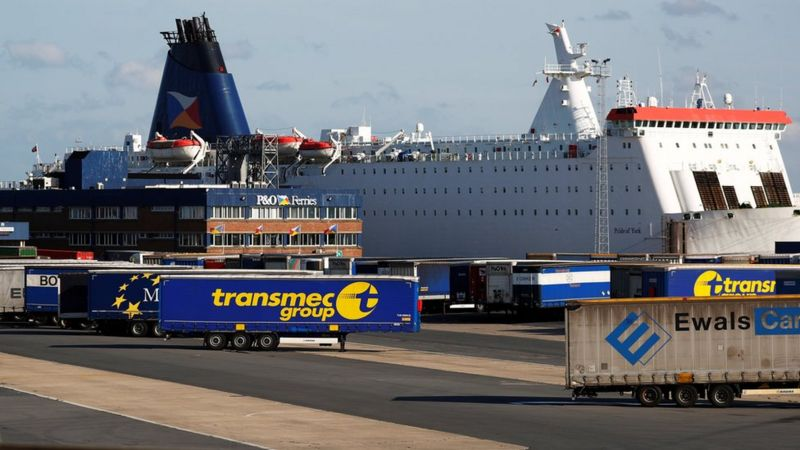 Unaccompanied containers next to a ferry at Zeebrugge