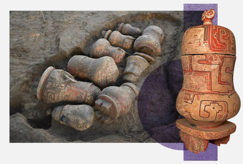 Montaje con fotografias de urnas funerarias.