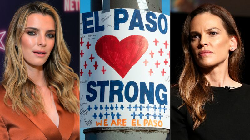Betty Gilpin (left), Hilary Swank, and a placard supporting the families of the El Paso victims and actress Hilary Swank