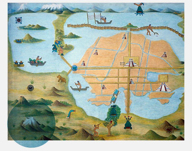 Grabado de Tenochtitlan