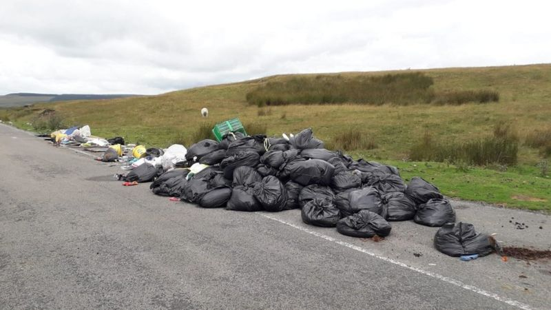 Black bags have been dumped on Gelligaer and Merthyr Common
