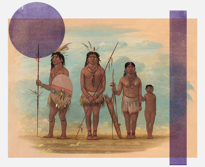 Representación es del siglo XIX de miembros del pueblo Xingu.