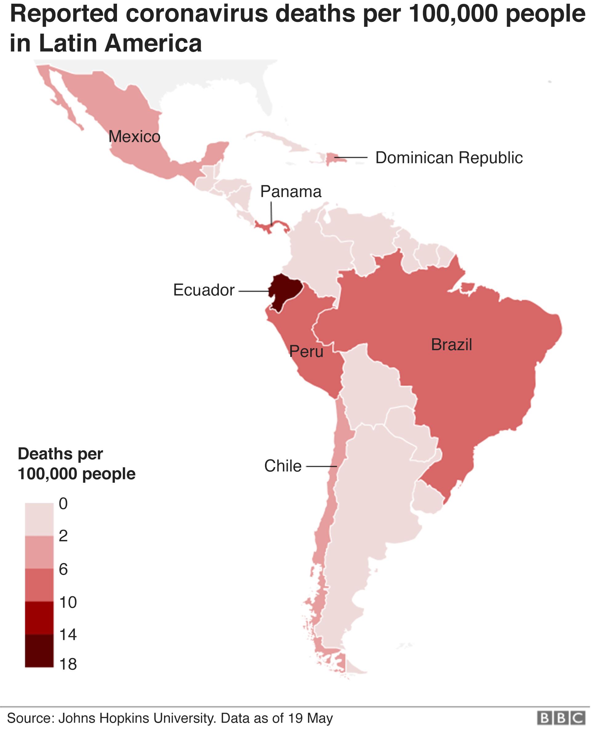 Reported coronavirus deaths per 100,000 people in Latin America
